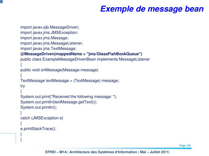 Exemple de message bean