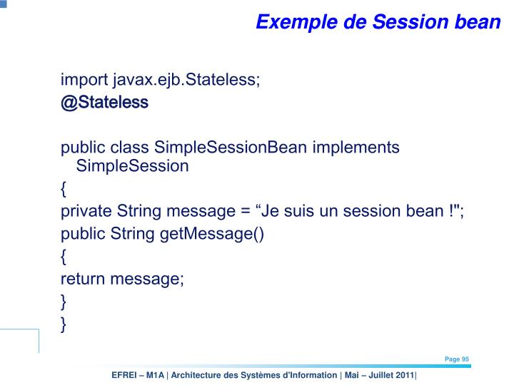 Exemple de Session bean