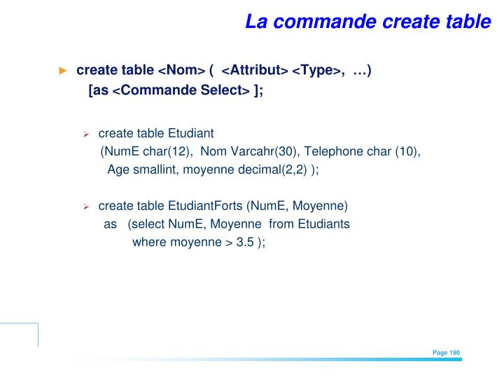 La commande create table