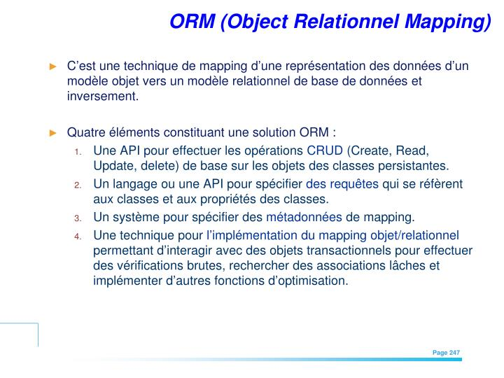ORM (Object Relationnel Mapping)