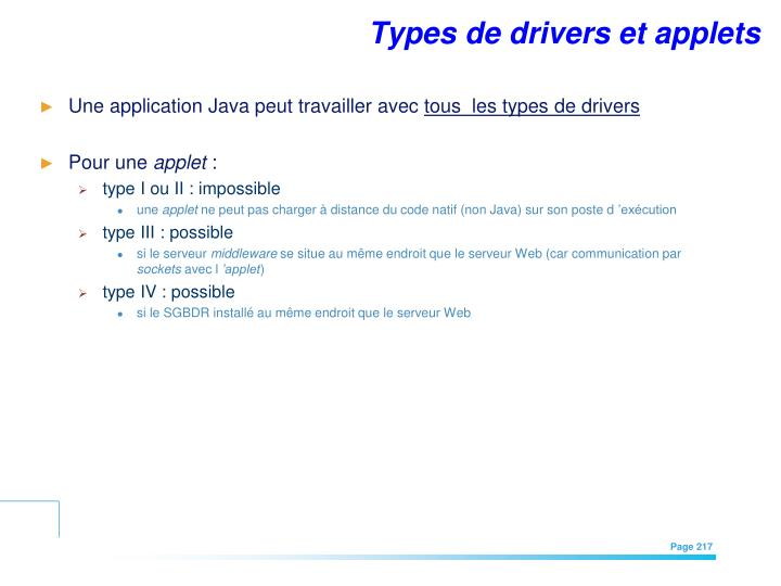 Types de drivers et applets