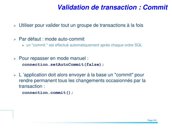 Validation de transaction : Commit