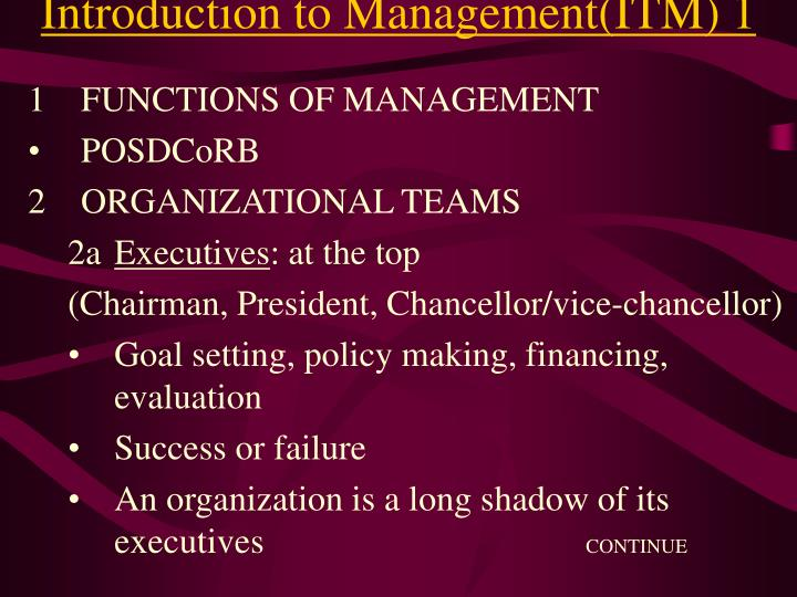 Introduction to Management(ITM) 1