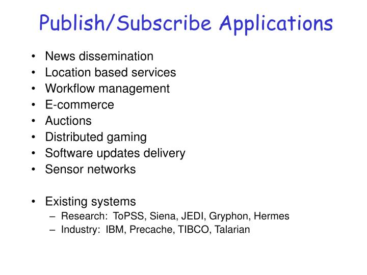 Publish/Subscribe Applications
