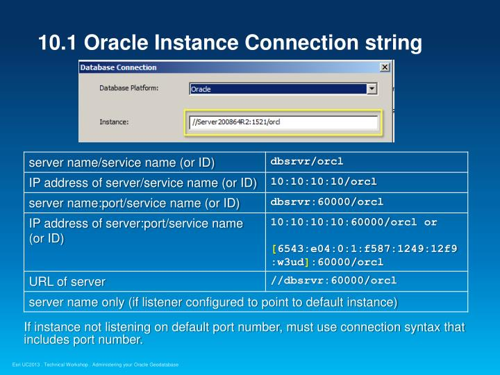 10.1 Oracle Instance Connection string