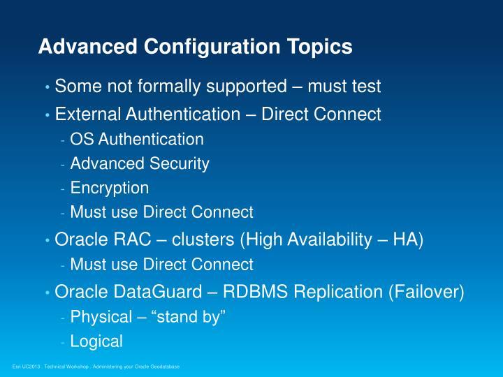Advanced Configuration Topics