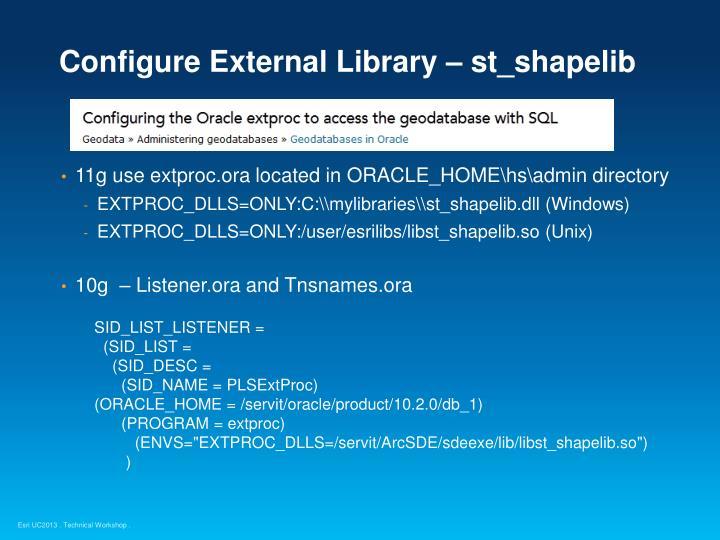 Configure External Library – st_shapelib