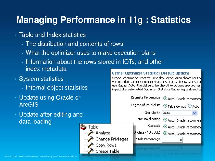 Managing Performance in 11g : Statistics