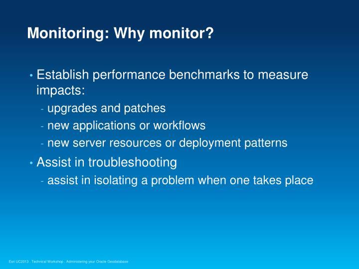 Monitoring: Why monitor?