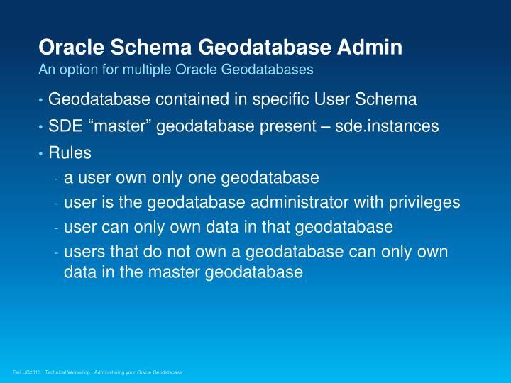 Oracle Schema Geodatabase Admin