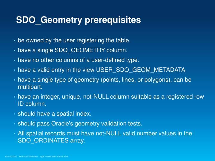 SDO_Geometry prerequisites