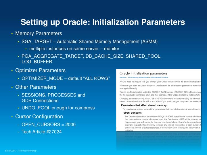 Setting up Oracle: Initialization Parameters
