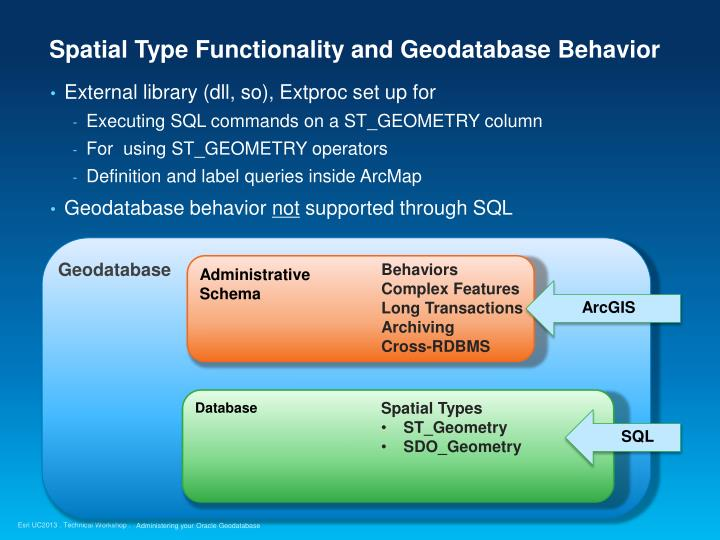 Spatial Type Functionality and Geodatabase Behavior