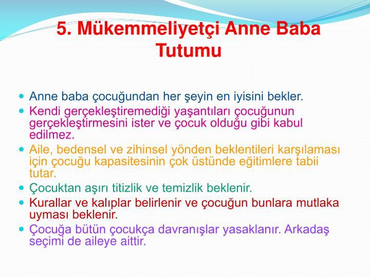 5. Mükemmeliyetçi Anne Baba Tutumu