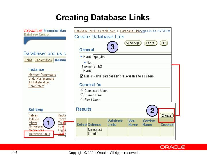 Creating Database Links