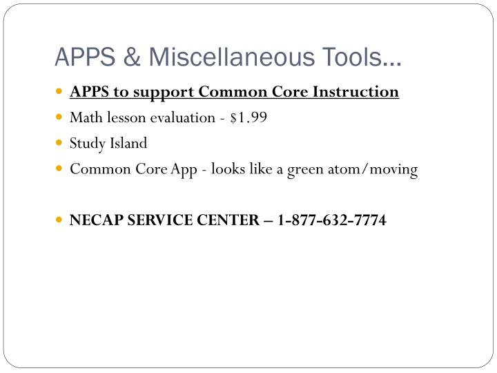 APPS & Miscellaneous Tools…