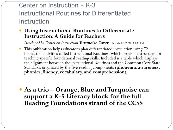Center on Instruction – K-3