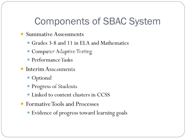 Components of SBAC System