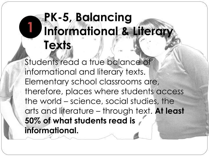 PK-5, Balancing Informational & Literary Texts
