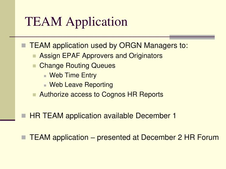 TEAM Application