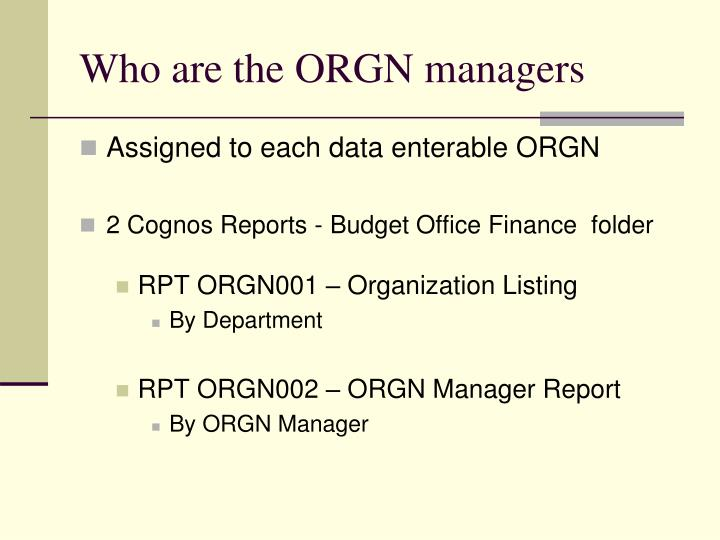 Who are the ORGN managers