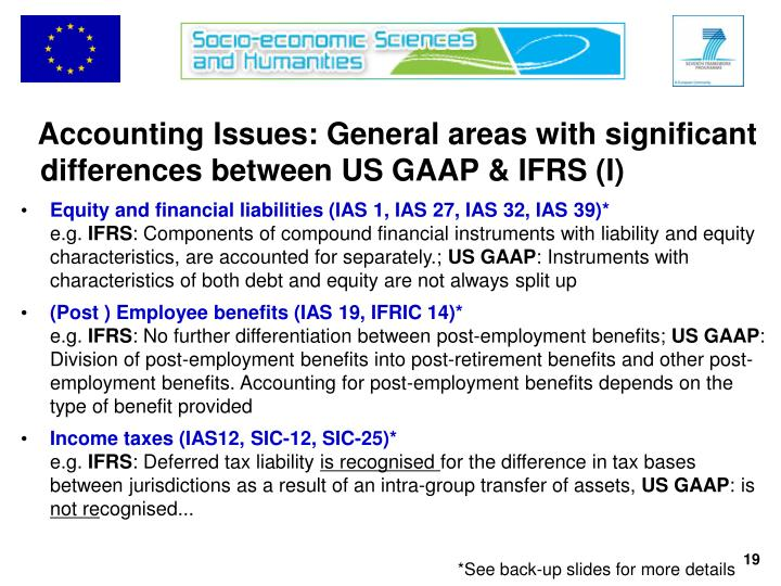 Accounting Issues: General areas with significant differences between US GAAP & IFRS (I)