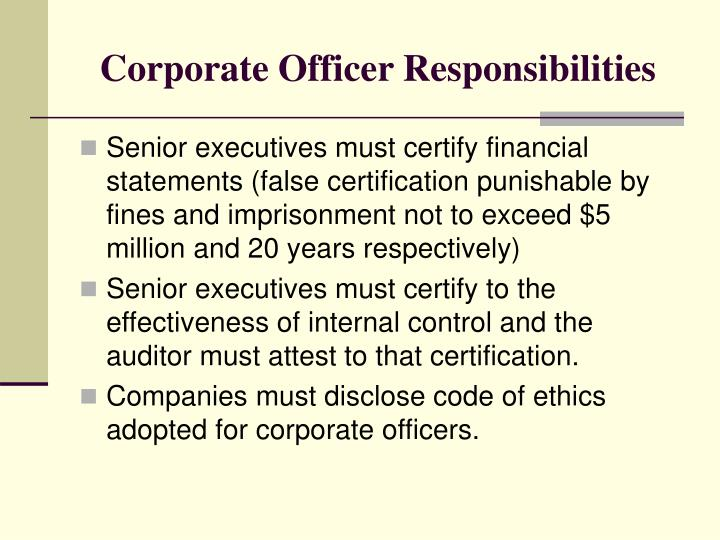 Corporate Officer Responsibilities