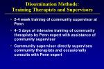 dissemination methods training therapists and supervisors