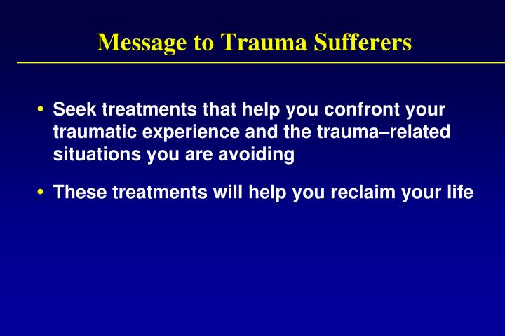Message to Trauma Sufferers