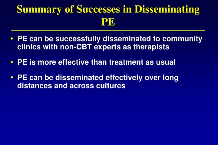 Summary of Successes in Disseminating PE