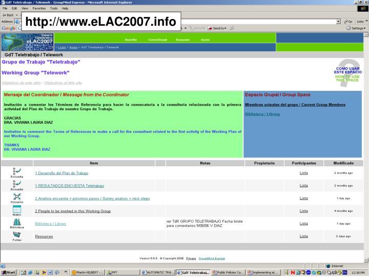 http://www.eLAC2007.info