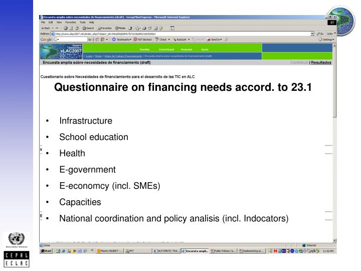 Questionnaire on financing needs accord. to 23.1