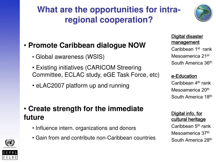 What are the opportunities for intra-regional cooperation?