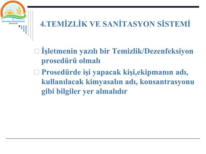 4.TEMZLK VE SANTASYON SSTEM