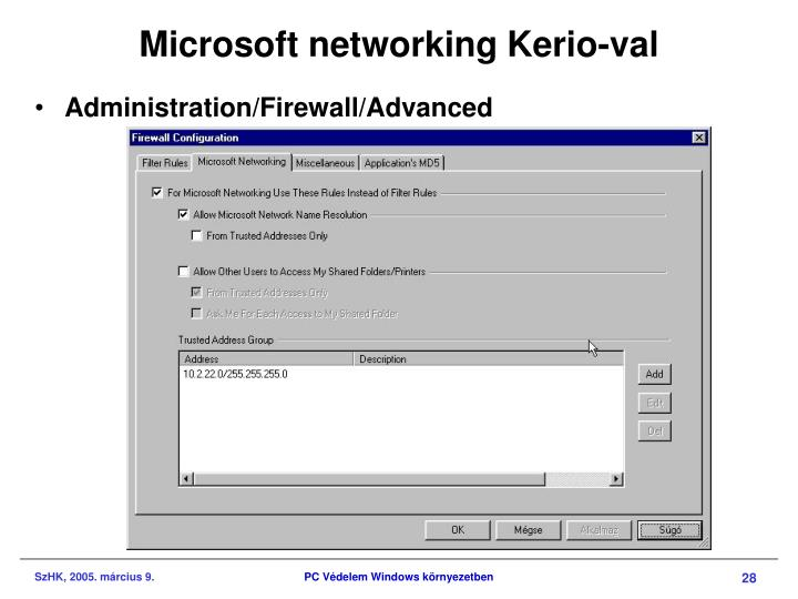Microsoft networking Kerio-val
