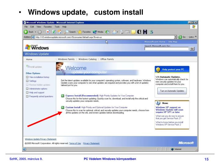 Windows update,   custom install