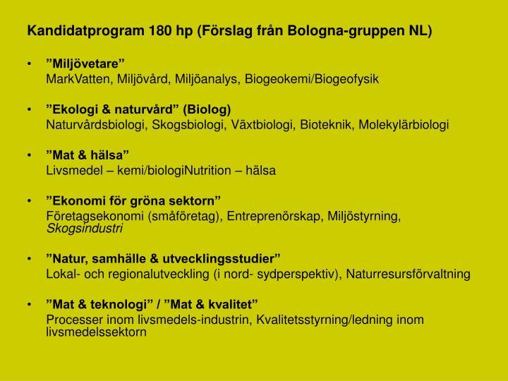 Kandidatprogram 180 hp (Förslag från Bologna-gruppen NL)