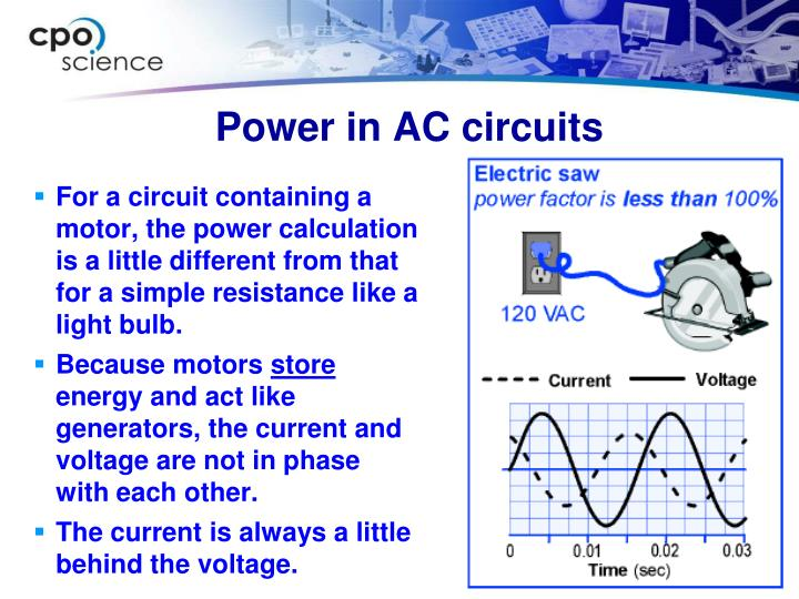 For a circuit containing a motor, the power calculation is a little different from that for a simple resistance like a light bulb.