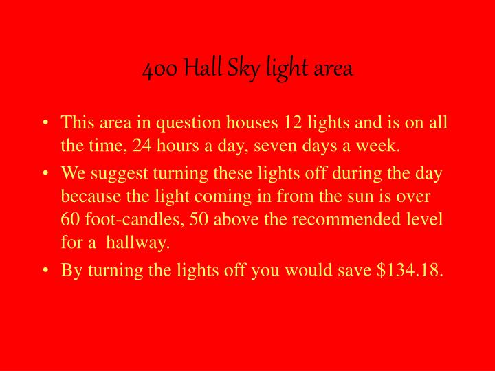 400 Hall Sky light area