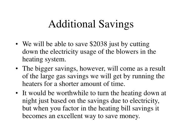 Additional Savings