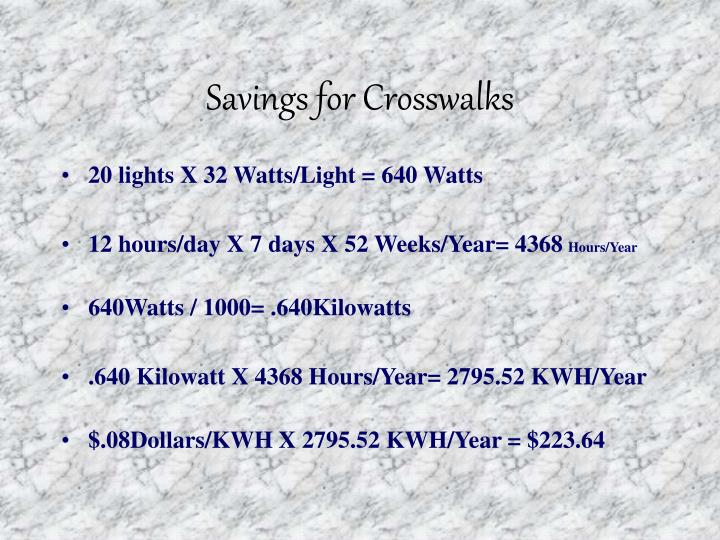Savings for Crosswalks