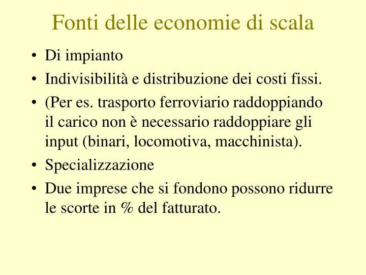 Fonti delle economie di scala