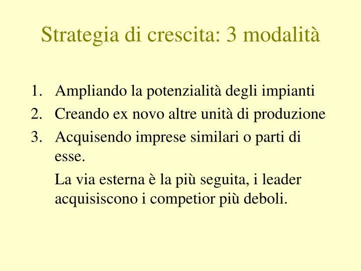 Strategia di crescita: 3 modalità