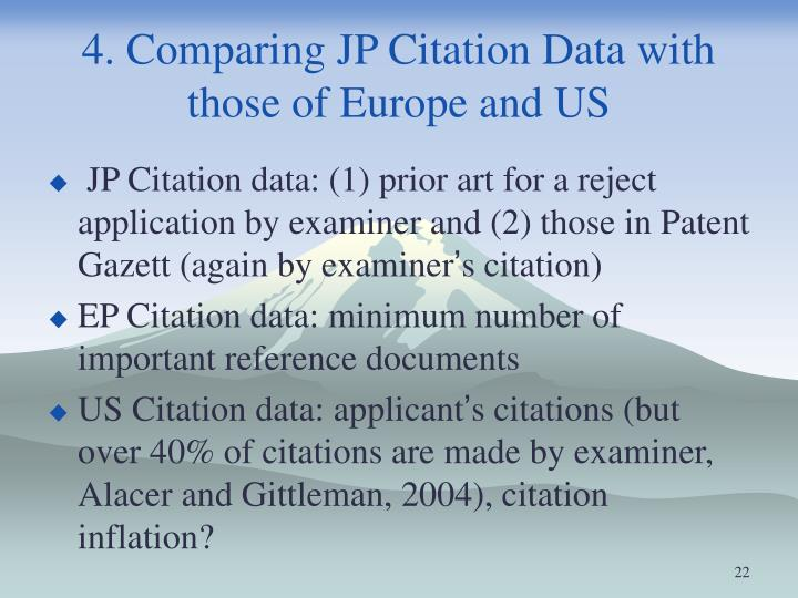 4. Comparing JP Citation Data with those of Europe and US