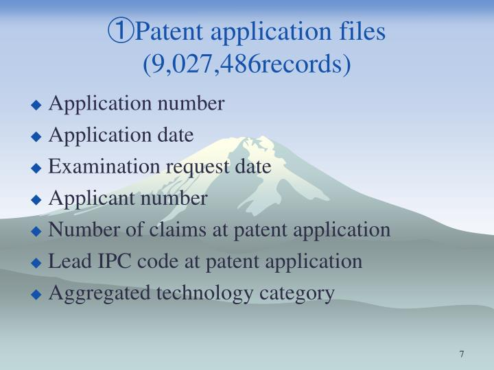 ①Patent application files (9,027,486records)