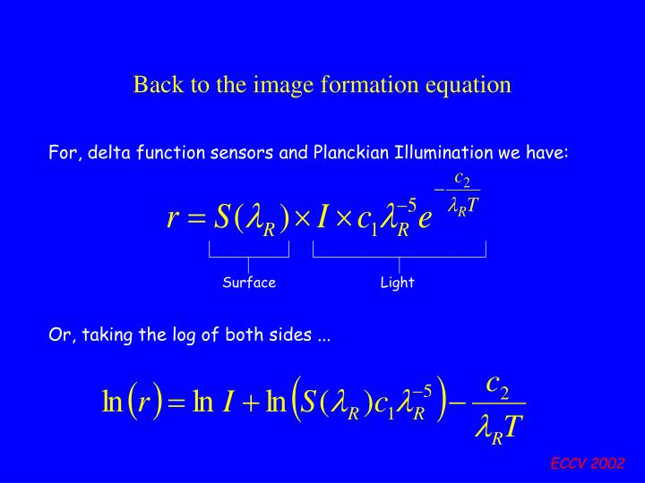 Back to the image formation equation