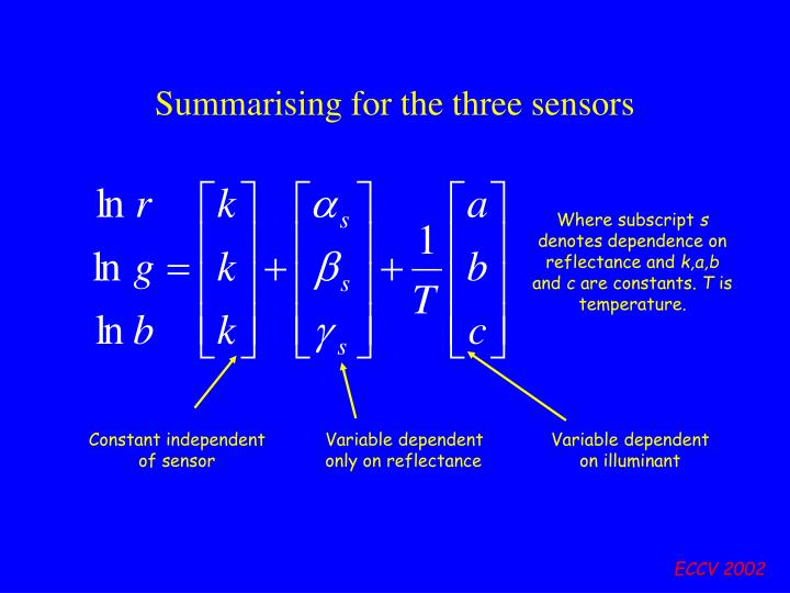 Summarising for the three sensors