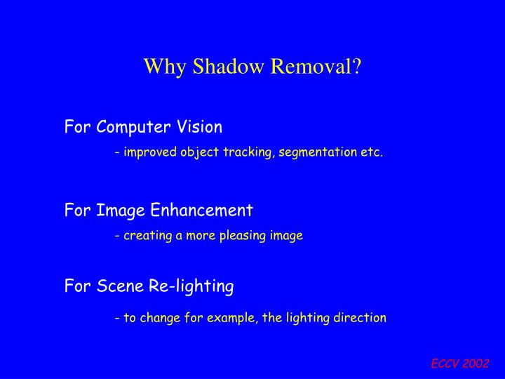 Why Shadow Removal?