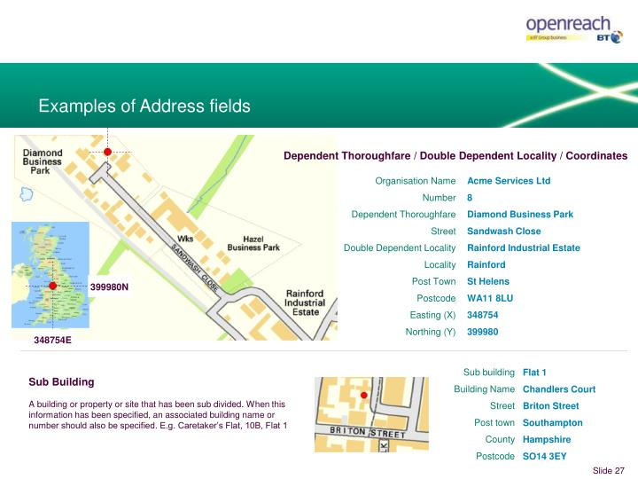 Examples of Address fields