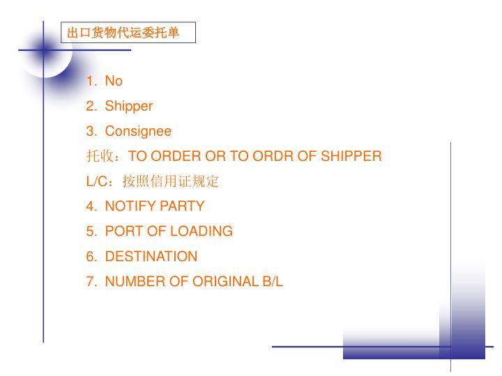 出口货物代运委托单